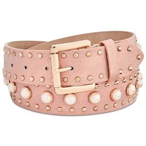 Steve Madden Pearl Studded Faux Leather Belt  S